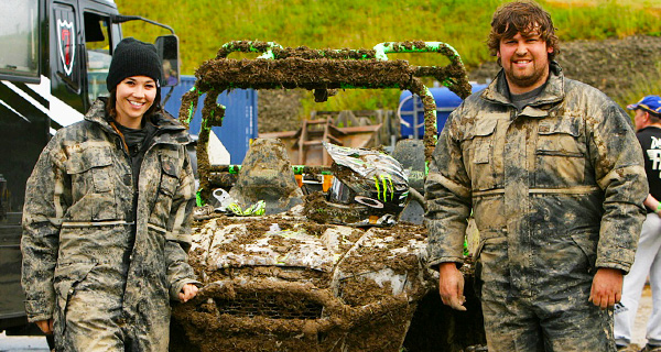 Liam and Andrea getting dirty with the Polaris RZR Racing.